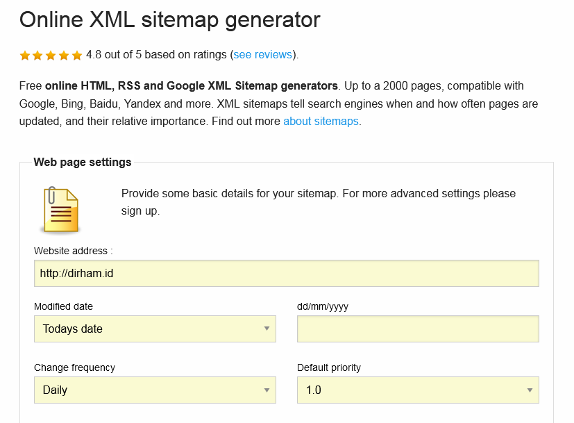 Online Sitemap Generator tanpa plugin