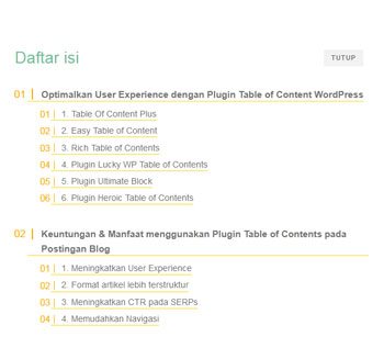 Plugin Table of Content Terbaik